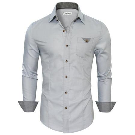 TAM WARE Mens Inner Plaid Oxford Cotton Button Down Dress Shirts