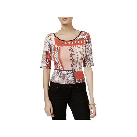 Guess Womens Tangier Tapestry Tie-Back Stretch Crop Top