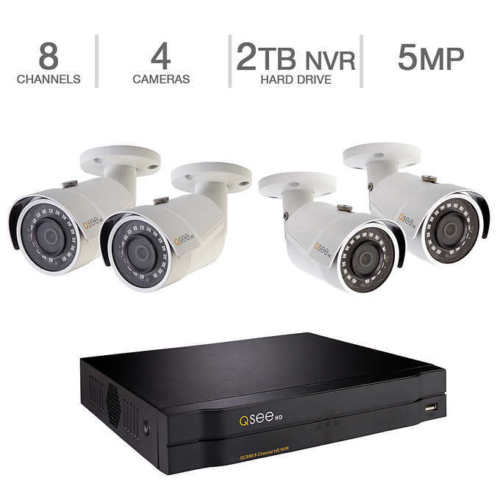 Q-See 8-Channel 4K UHD NVR with 2TB HD, 4 5MP Cameras with Color Night Vision QC888-4GJ-2 Security Home Surveillance System