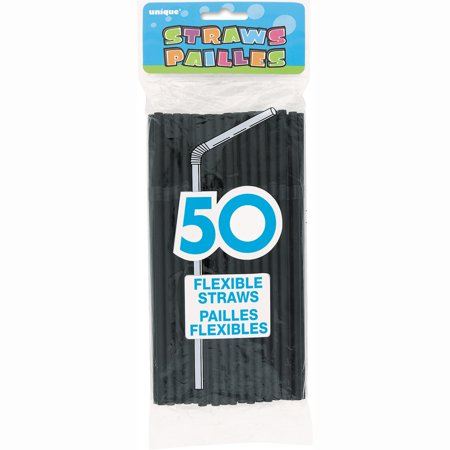 Unique Industries Black Flexible Plastic Straws, 50 Count (Unique Industries Party Supplies)