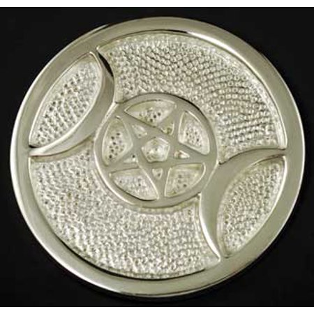 Decorative Tiles Silver Plated Triple Moon Sacred Space Altar Tile 3 (Decorative Half Round Tile)