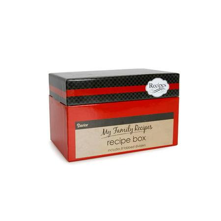 Maple Recipe Box - Darice Recipe Card Box Cutlery Black and Red