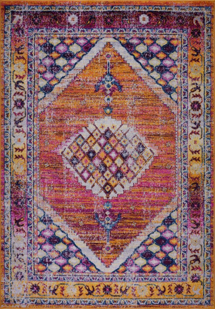 Ladole Rugs Orange Pink Multicolor Vintage Indoor Mat Carpet Runner Area Rug For Living Bed Room Entry Way Patio Size Small Medium Large Long 3x5