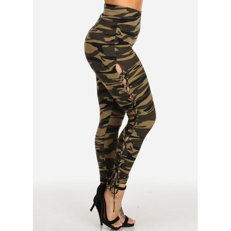 Womens Juniors Trendy Camouflage Print High Rise Side Lace Up Stretchy Pants 40904G