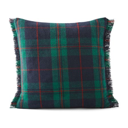 Better Homes & Gardens Feather Filled Frayed Plaid Decorative Square Throw Pillow, 18