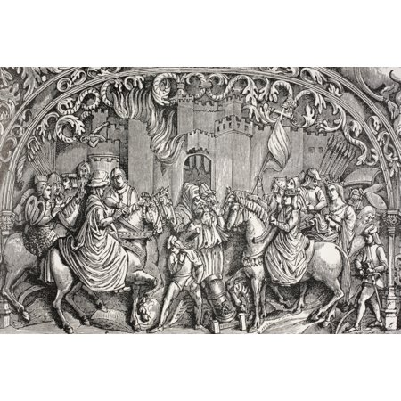 Surrender Of Montefrio Near Granada Spain In 1486 The Moors Deliver The Keys Of The City To Ferdinand The Catholic And Queen Isabella After A Bas-Relief In Granada Cathedral From Military And Religiou](Party City Near Here)