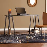 Southern Enterprises Alisha Metal/Glass A-Frame Desk, Distressed Black