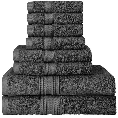 Beauty Threadz Luxurious 700 GSM Thick 8 Piece Towel Set in Grey; 2 Bath Towels, 2 Hand Towels and 4 Washcloths 100% Ring Spun Cotton Hotel Quality for Maximum Softness and High Absorbency