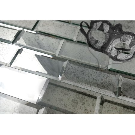 """Abolos- Echo Mirror 3"""" x 6"""" Glass Peel & Stick Subway Tile in Antique Silver, 14 Square Feet (14 Packs)"""