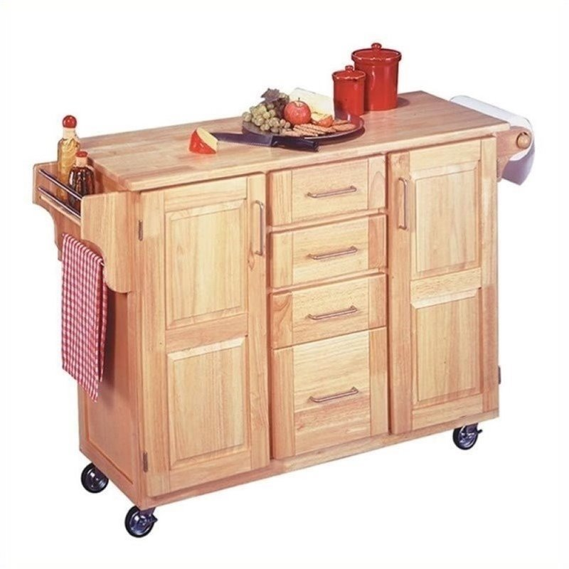 Bowery Hill Kitchen Cart with Breakfast Bar in Natural - BH-43845