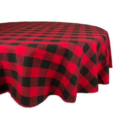 Design Imports Classic Round Buffalo Check Kitchen Tablecloth, 70