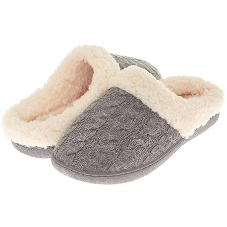 7591bebfcf6 Floopi - Floopi Womens Indoor Outdoor Knitted Sherpa Lined Clog Slipper W Memory  Foam - Walmart.com