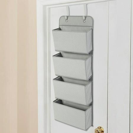 - Over the Door Hanging Organizer, Estink Nonwoven 4 Pockets Over Door Hanging Hook SHoes Storage Pockets Bag Wardrobe for Classroom Office Home(Grey)