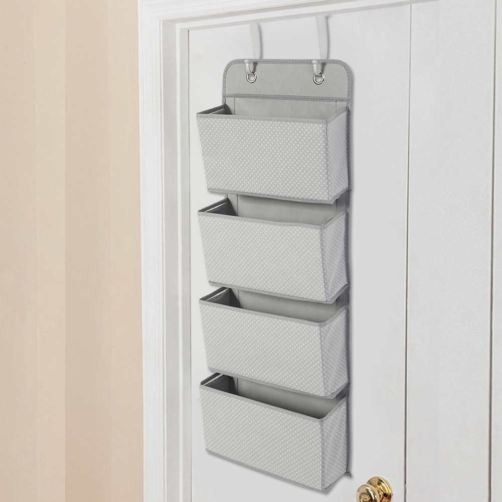 Over the Door Hanging Organizer, Estink Nonwoven 4 Pockets Over Door Hanging Hook SHoes Storage Pockets Bag Wardrobe for Classroom Office Home(Grey)