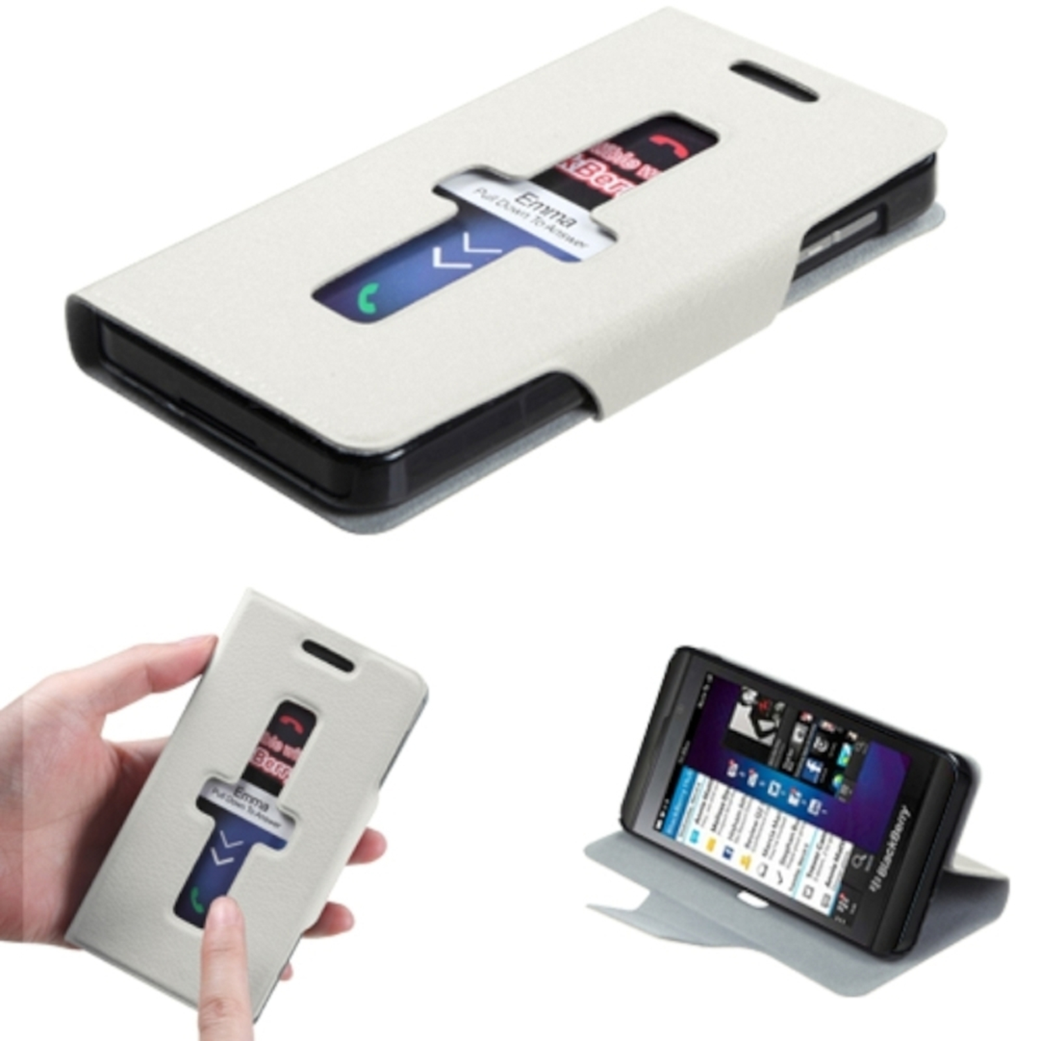 Insten White Premium Book-Style MyJacket Wallet Case with Package For BLACKBERRY Z10