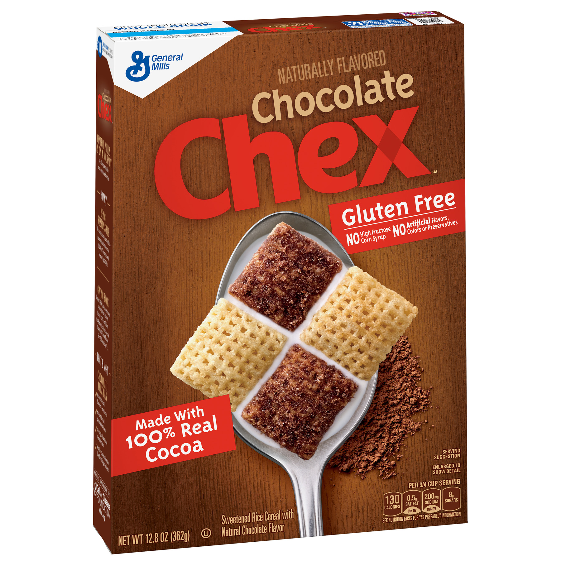 Chocolate Chex Cereal, Gluten-Free Cereal, 12.8 oz