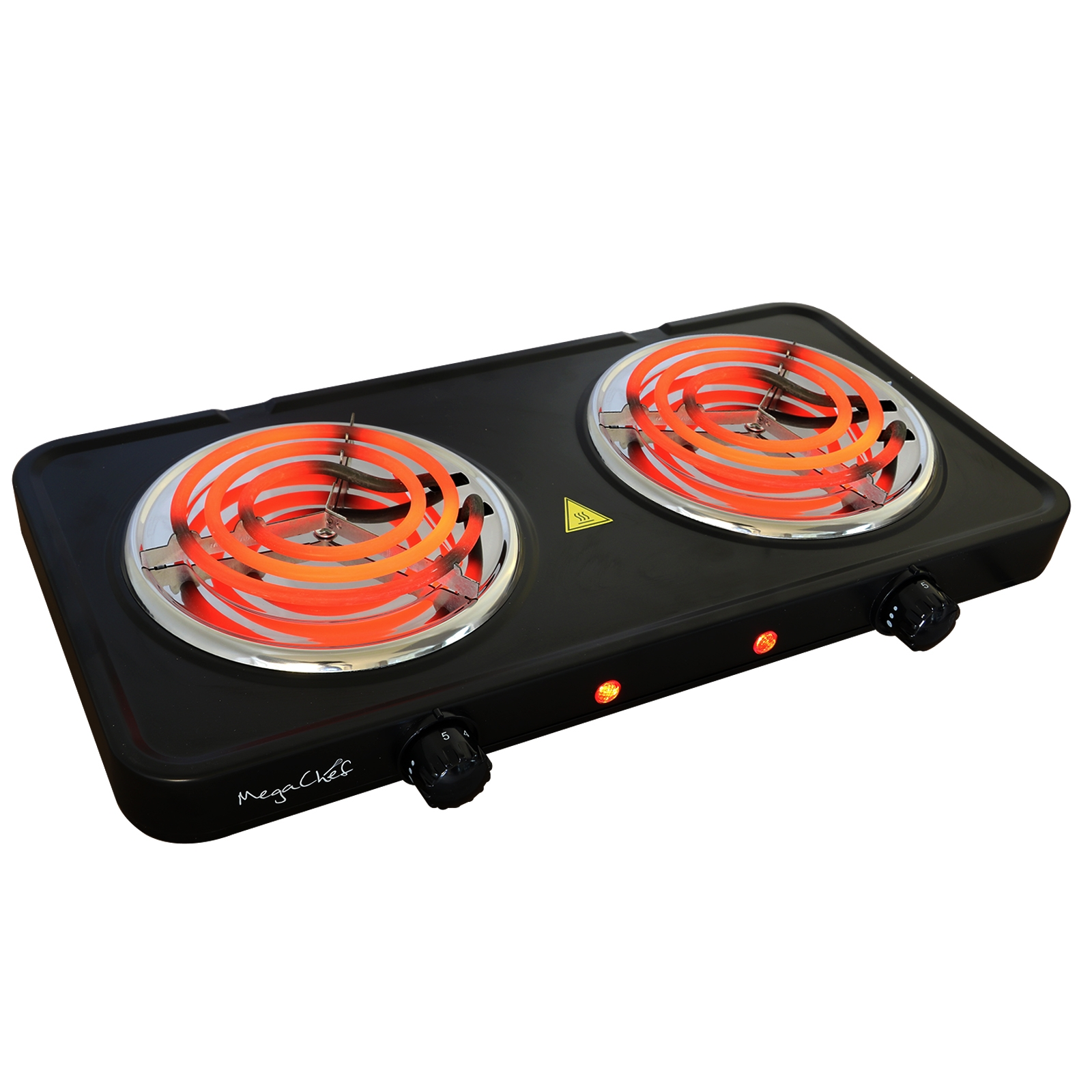 MegaChef Electric Easily Portable Ultra Lightweight Dual Coil Burner Cooktop Buffet Range in Matte Black