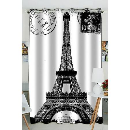 GCKG Frech Paris Eiffel Tower City of Love Black White Blackout Curtains Window treatment Panel Drapes 52(W) x 84(H) inches (One Piece)