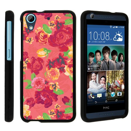 HTC Desire 626, 626s, [SNAP SHELL][Matte Black] 2 Piece Snap On Rubberized Hard Plastic Cell Phone Case with Exclusive Art - Fruity Rose Pattern Cell Phone Case Pattern