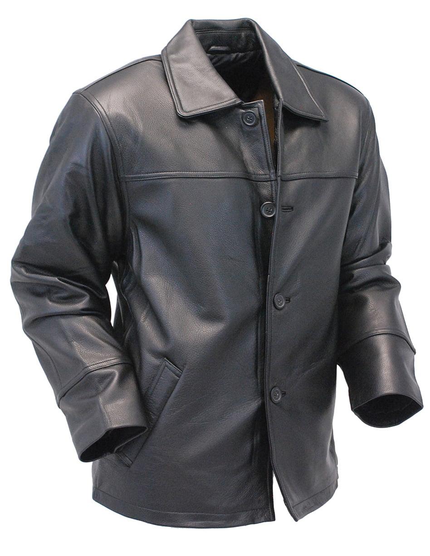 Men's Long Black Leather Parka Jacket #M747BTQK by