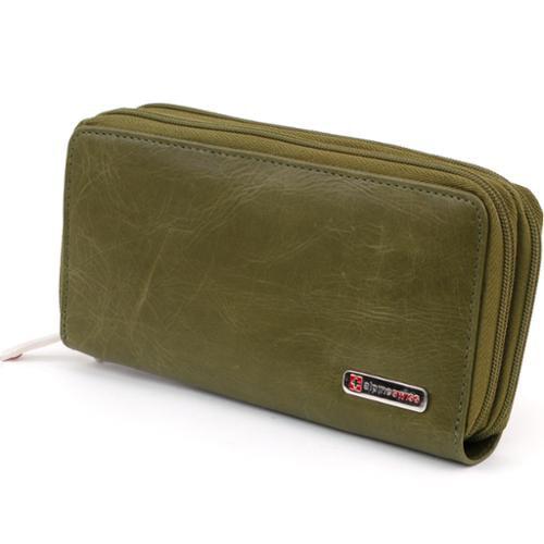 Womens Organizer Wallet Genuine Leather Wristlet Checkbook Clutch Bag Mini Purse Olive Organizer Wallet