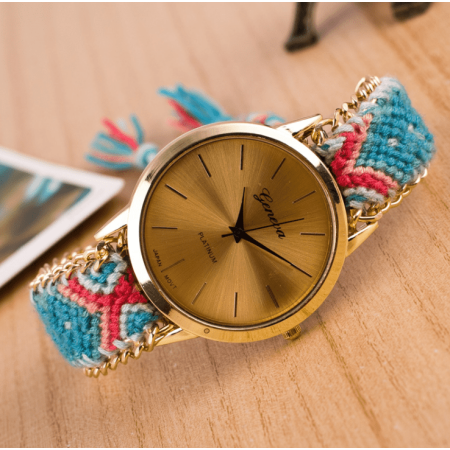 ON SALE - Offbeat Hand Woven Watch in 13 Colorful Patterns Aqua & Coral