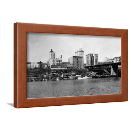 Skyline Framed (Skyline View - Tacoma, WA Framed Print Wall Art By Lantern Press)