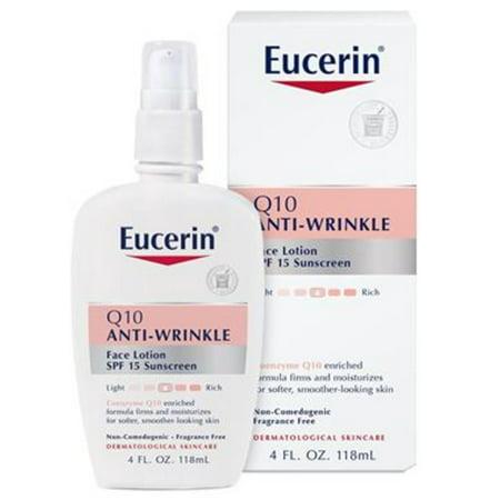 Eucerin Q10 Anti-Wrinkle Face Lotion SPF 15, For Sensitive Skin, 4 Fl. Oz. Bottle
