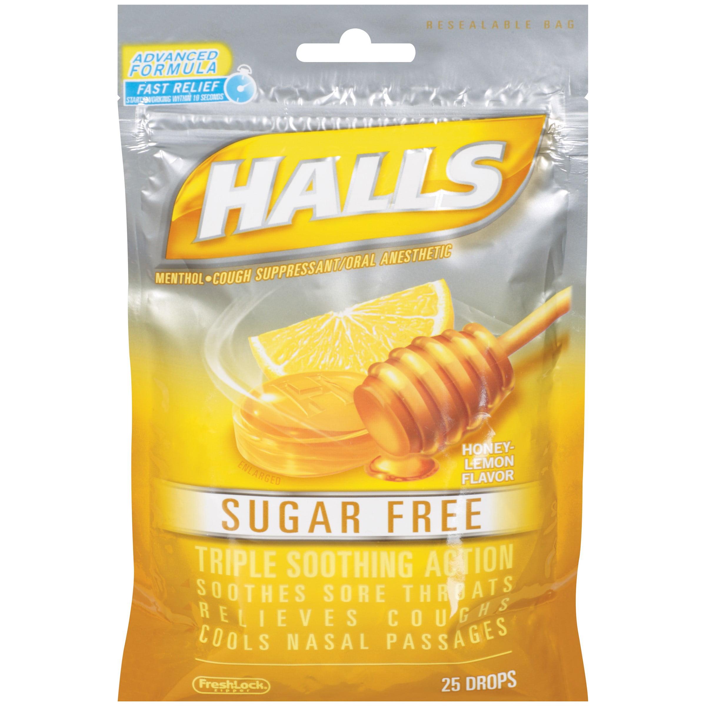 Halls Sugar Free Mentho-Lyptus Cough Suppressant Drops, Honey Lemon, 25 Ct
