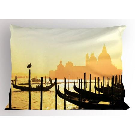 Venice Pillow Sham Romantic Italian City at Sunrise Line of Gondolas Lagoon and Basilica Silhouette, Decorative Standard Size Printed Pillowcase, 26 X 20 Inches, Mustard Black, by Ambesonne