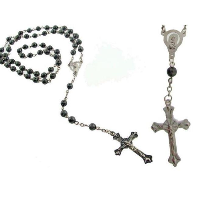 DDI 539262 Glass Hematite Rosary Bead Necklace Case of 2