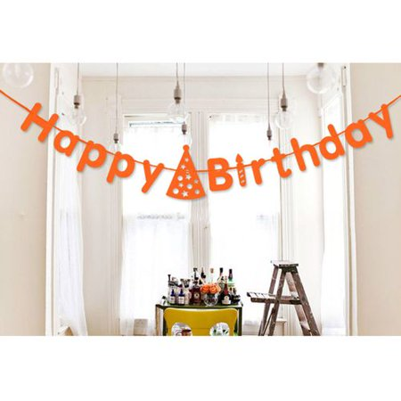 Glow In The Dark Happy Birthday Banner (KABOER Happy Birthday Letters Pull Flag Party Banner Celebration Flower)