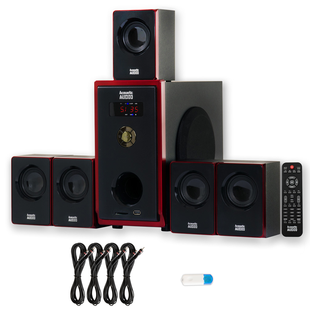 Acoustic Audio AA5103 Home Theater 5.1 Speaker System with USB Bluetooth and 4 Extension