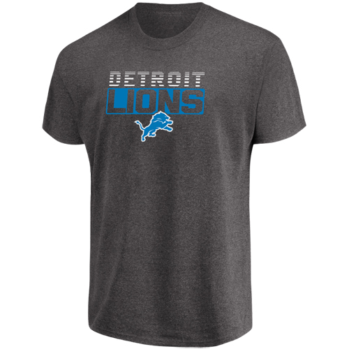 Men's Majestic Heathered Charcoal Detroit Lions Come Into Play T-Shirt