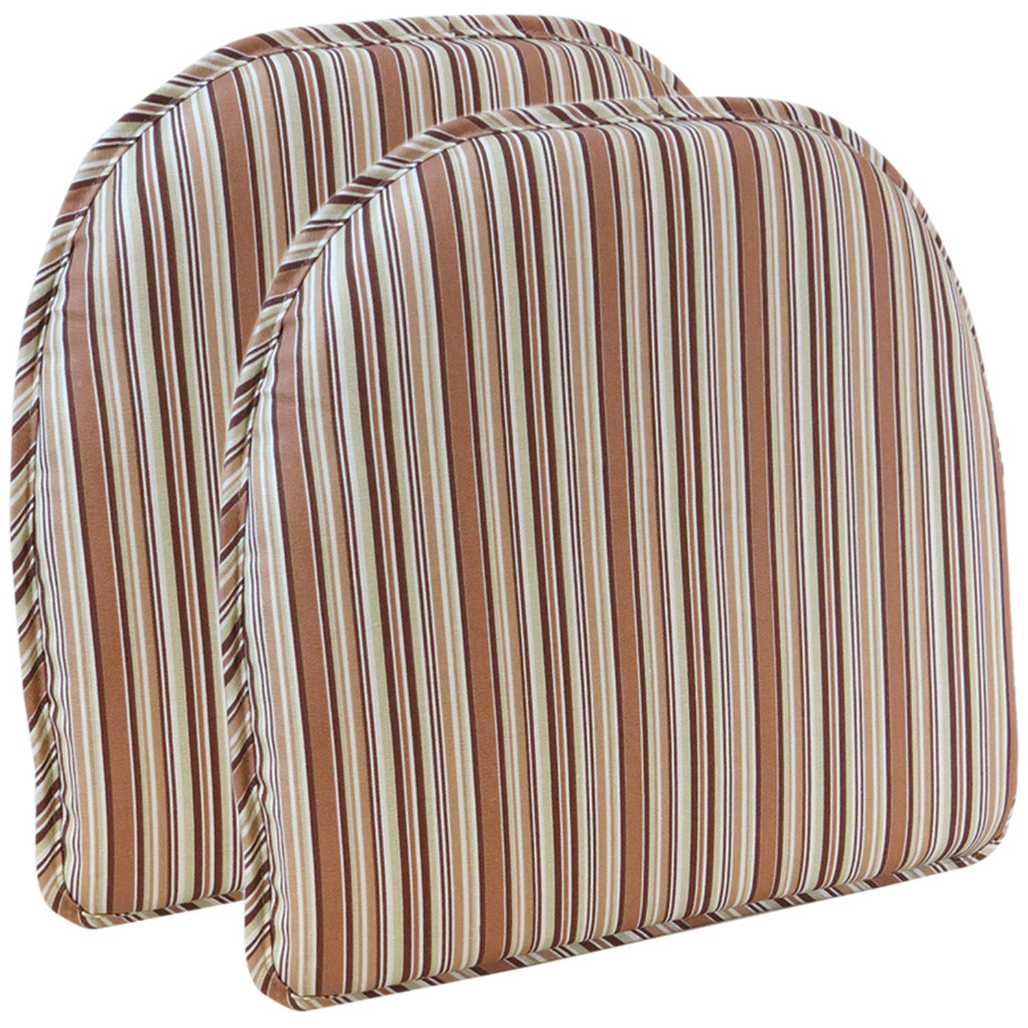 "Gripper Non-Slip 15"" x 16"" Cottage Stripe Chair Cushions, Set of 2"