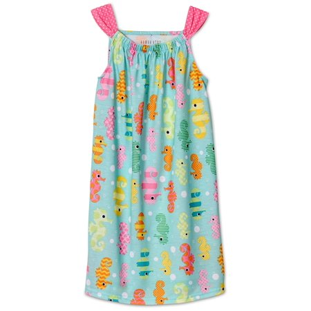 Komar Kids Girls Hot Pink Summer Animal Stack Nightgown -Kitty Cat, Bunny Rabbit, Duck, Aqua, Size: X-Large / 14-16 (Kids Gowns)