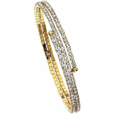 Austrian Crystal Bangle (Women's Handset Austrian Crystals 14kt Gold-Plated 2-Row Flex Bangle )