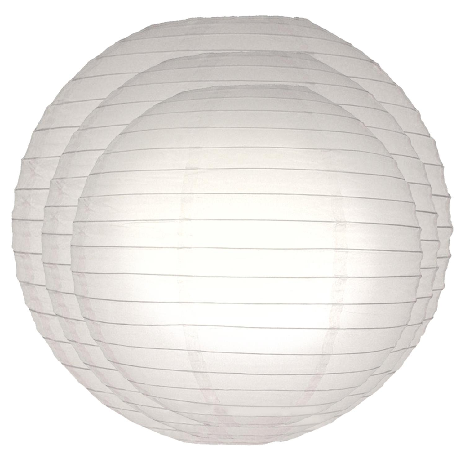 Pack of 6 Traditional Bright White Garden Patio Round Chinese Paper Lanterns