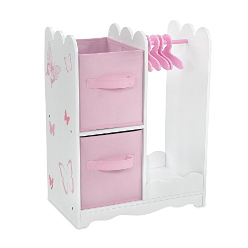 18 Inch Doll Furniture | Beautiful Pink and White Open Wardrobe Closet with Butterfly Detail Comes with 5 Doll... by Emily Rose Doll Clothes