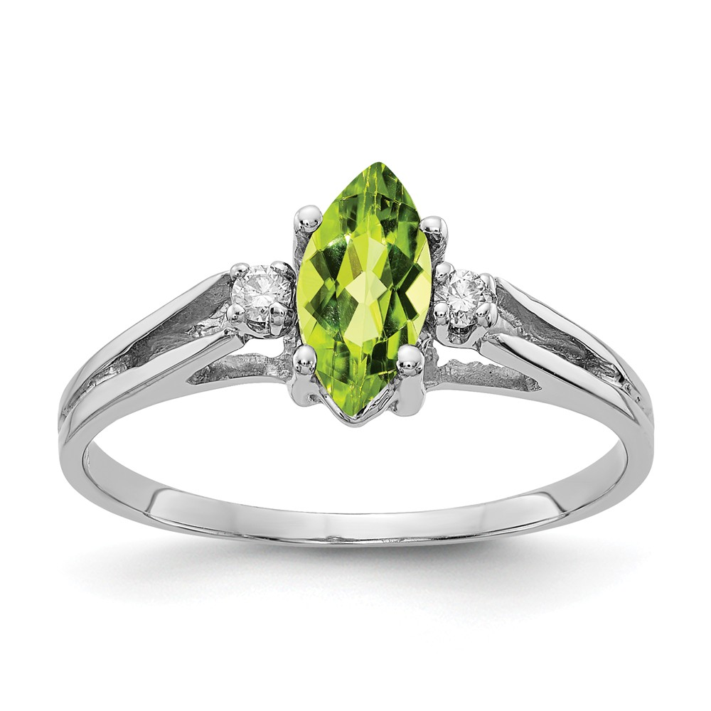 14k 0.6ct White Gold 8x4mm Marquise Peridot H-I SI2 Diamond Gemstone Ring