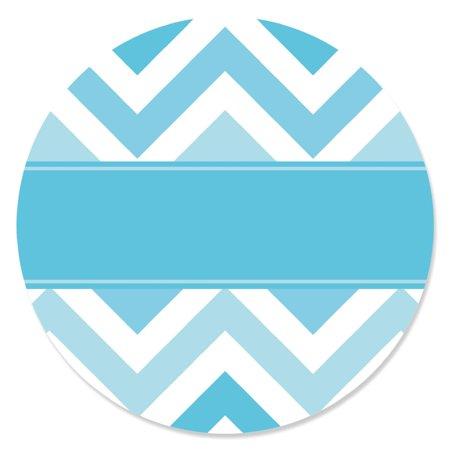 Chevron Blue - Party Circle Sticker Labels - 24 Count (Chevron Party Theme)