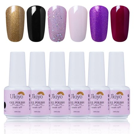f115adf44bb Ukiyo 15ml UV Gel Polish 6 Colors Set Healthy   Eco-friendly Lacquer  Elegant Manicure Soak Off Long Lasting Varnish Nail Kit C004 - Walmart.com