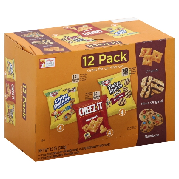 Keebler Chips Deluxe Rainbow, Cheez-It, & Fudge Stripes Variety Snack Pack, 1 Oz., 12 Count