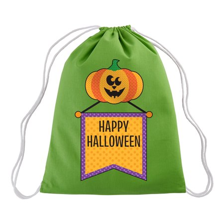 Personalized Haunted Halloween Drawstring Treat Sack - Pumpkin