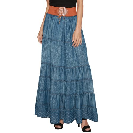 TheMogan Women's Embroidered Tiered A-Line Elasticized High Waist Long Full Maxi (Tiered Denim Skirt)