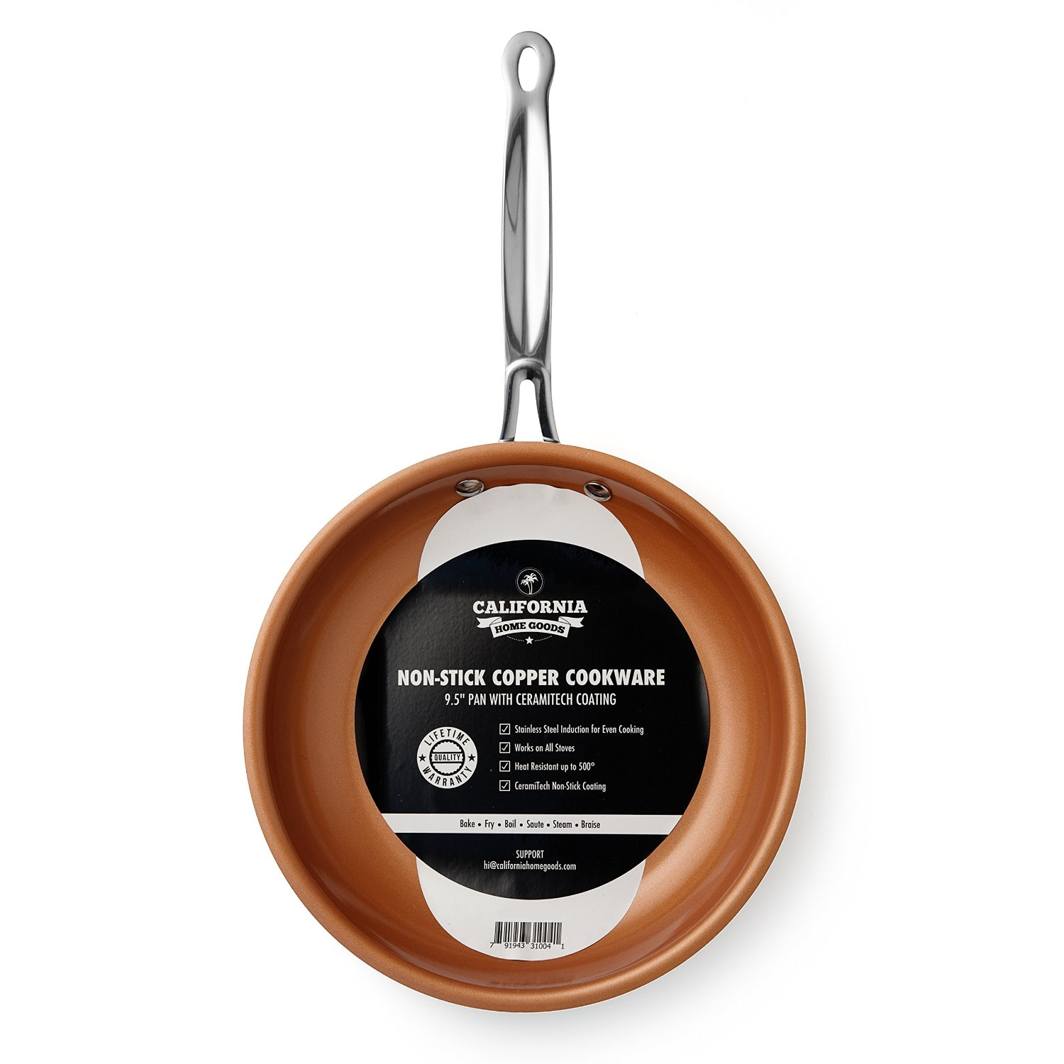 "California Home Goods 9.5"" Non-Stick Ceramic Titanium Frying Pan, Oven Safe, Dishwasher Safe, Scratch Proof, 9.5 Inches, Copper Colored"