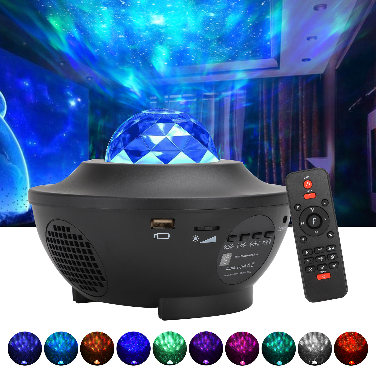 Galaxy Light Projector with Remote Control and Bluetooth Music Speaker Rotating Ocean Wave Star Light Projector Bedroom Christmas Wedding Tesoky Star Projector Night Light for Kids