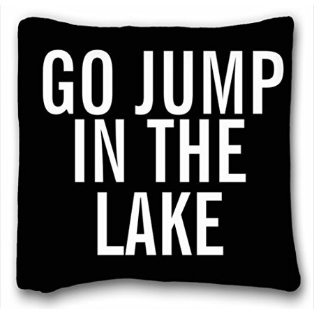 WinHome Black background with white go jump in the lake Pillowcase Pillow cover Size 20x20 inches Two Side Print ()