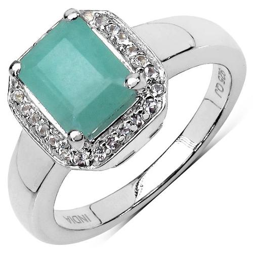 Olivia Leone  Sterling Silver Octagonal Emerald and White Topaz Ring