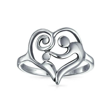 Swirling Heart Mother Loving Child Family Ring For Women Gift For Mom 925 Sterling Silver Band 1MM - image 1 of 4